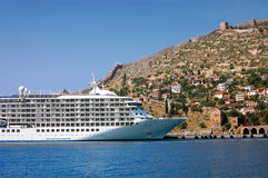 Cruise liner. In Alanya Turkey royalty free stock images