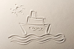 Cruise liner. Beach background , drawing of a cruise liner stock image