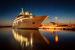 Cruise liner. Modern cruise liner in the harbor at night stock image
