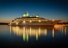 Cruise liner. Modern cruise liner in the harbor at night stock photos