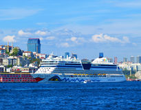 Cruise liner AIDA in Bosporus Royalty Free Stock Photos