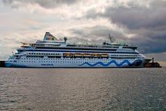 Cruise liner AIDA Vita. San Sebastian de la Gomera, Gran Canarya, Spain - January 28, 2014. Cruise liner AIDA Vita docked at the port of San Sebastian de la Royalty Free Stock Photo