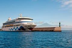 Cruise liner AIDA Vita. San Sebastian de la Gomera, Gran Canarya, Spain - January 28, 2014. Cruise liner AIDA Vita docked at the port of San Sebastian de la Royalty Free Stock Photography