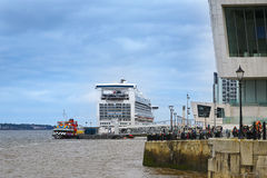Cruise Liner at the Albert Dock in Liverpool in Merseyside in England Royalty Free Stock Image