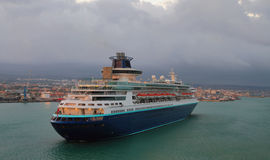Cruise liner arriving to port. Civitavecchia, Italy Royalty Free Stock Photo