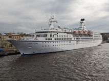 Cruise liner Astor moored in St. Petersburg, Russia Royalty Free Stock Images