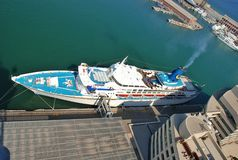 Cruise liner in Barcelona. Parking port cruise liner in Barcelona Spain Stock Photo