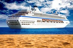 Cruise liner by the beach Stock Photography