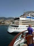Cruise liner at Cadiz Port, Spain Royalty Free Stock Photos