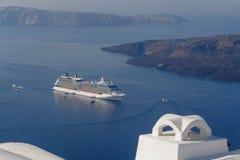 Cruise liner in caldera Stock Image