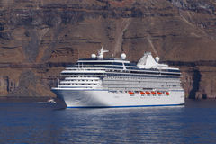 Cruise liner in caldera Stock Images