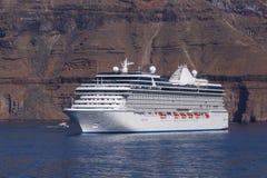 Cruise liner in caldera Stock Images