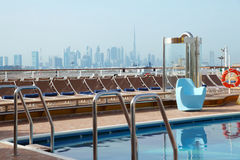 Cruise liner deck with swimming pool. Day royalty free stock photography