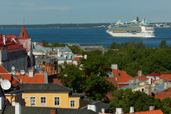 Cruise liner departs from Tallinn, Estonia Stock Images