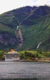 Cruise liner, Flam. Aurlands-fyord, Songe-fyord, Norway Royalty Free Stock Image