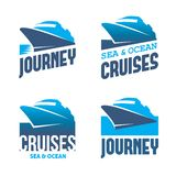 Cruise liner. Four blue labels with stylized cruise liner in vector Royalty Free Stock Image
