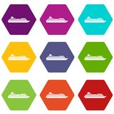 Cruise liner icon set color hexahedron. Cruise liner icon set many color hexahedron isolated on white vector illustration Stock Images
