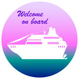 Cruise liner illustration with text place, welcome on board Royalty Free Stock Images