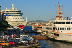 Cruise liner in Istanbul Stock Photos