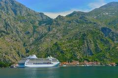 Cruise liner in Kotor Bay, Montenegro royalty free stock photos