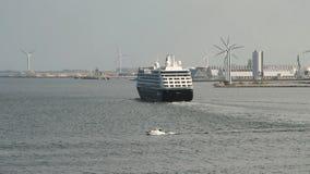 Cruise liner leaving port. Copenhagen, Denmark. 07-07-2018 stock video footage