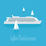 Cruise liner in Mediterranean vector illustration. Luxury cruise travel design element, clipart. Modern ship Royalty Free Stock Photos