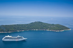 Cruise Liner moored off Locrum near Dubrovnik Royalty Free Stock Photo
