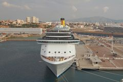 Cruise liner moored in port. Marseille, France stock image