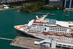 Cruise liner near Singapore Stock Images