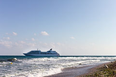 Cruise liner near to the beach. In Nessebar Bulgaria Stock Photos