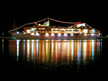 Cruise liner at night Stock Images