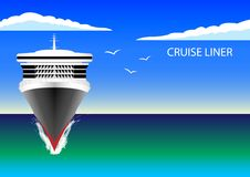 Cruise Liner in the ocean. Blue sky, white clouds, seagulls. Flat design. Vector Ilustration Royalty Free Stock Images