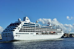 Cruise liner Ocean Princess departs from St. Petersburg, Russia. St. Petersburg, Russia - June 27, 2015: Cruise liner Ocean Princess of Princess Cruises company royalty free stock photos
