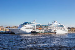 Cruise liner Ocean Princess and the tank vessel Gazpromneft Northwest Royalty Free Stock Photo
