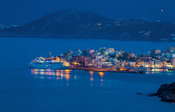 Cruise liner off the coast of Agios Nikolaos Stock Photos