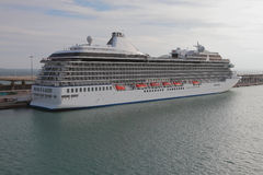 Cruise liner on parking at mooring. Barcelona, Spain Stock Photo
