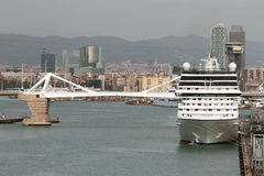 Cruise liner on parking in port. Barcelona, Spain Royalty Free Stock Photo