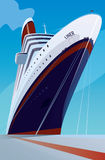 Cruise liner at the pier. Huge cruise liner moored at the pier. Front view. Transportation or ship docked concept vector illustration