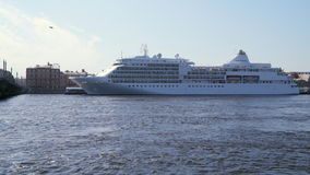 Cruise liner at the pier stock video footage