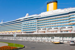 Cruise liner in port. Cruise liner in St. Petersburg new port Royalty Free Stock Images