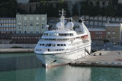 Cruise liner in port. Ancona, Italy. 2013-09-15 royalty free stock images