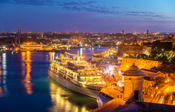 Cruise liner in the port of Valletta Royalty Free Stock Photo