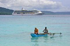 Cruise Liner RADIANCE OF THE SEAS. RADIANCE OF THE SEAS at Champagne Bay, Vanuatu Stock Images