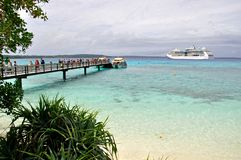 Cruise Liner RADIANCE OF THE SEAS. RADIANCE OF THE SEAS at Lifou, the Loyalty Islands Stock Photography