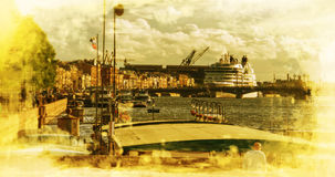 Cruise liner on the river Neva in St. Petersburg Royalty Free Stock Photography
