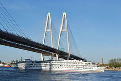 The cruise liner sailing on the river Neva royalty free stock photos
