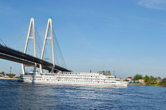 The cruise liner sailing on the river Neva Royalty Free Stock Image