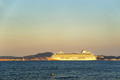 Cruise liner in Saint Tropez harbor Royalty Free Stock Photography