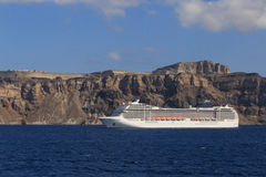 Cruise liner at Santorini island Stock Image
