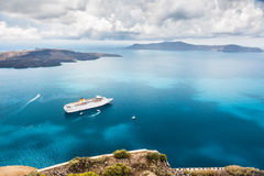 Cruise liner at the sea near the islands Royalty Free Stock Photography